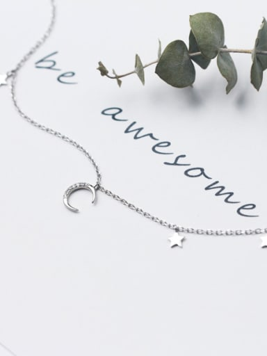 925 Sterling Silver With Platinum Plated Simplistic Moon Star Chokers