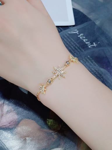 Copper With Cubic Zirconia Fashion Eight-Pointed Star Adjustable Bracelets