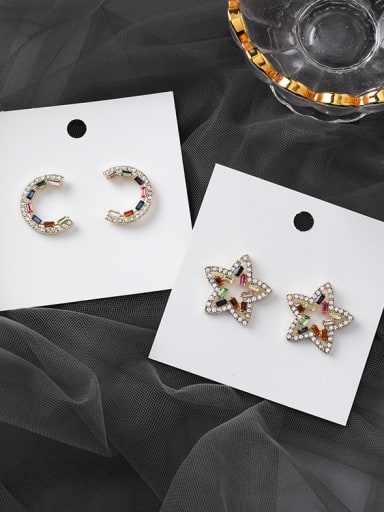 Alloy With Imitation Gold Plated Cute Star Stud Earrings
