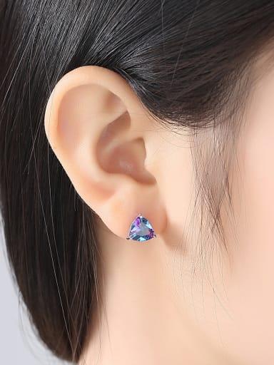 Sterling silver Rainbow semi-precious stones Triangle earring