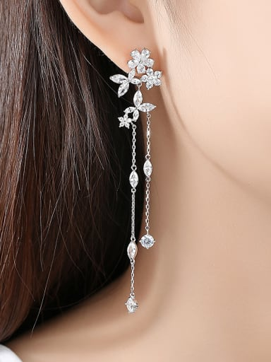 Copper With Platinum Plated Fashion Flower Tassels  Earrings