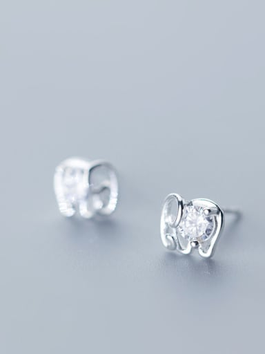 925 Sterling Silver With Silver Plated Cute Elephant Stud Earrings