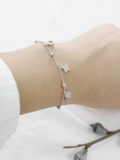 Fashion Tiny Zirconias Adjustable Silver Bracelet