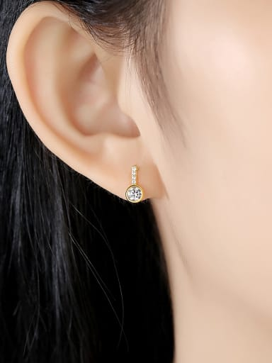 925 Sterling Silver With Cubic Zirconia Simplistic Geometric Drop Earrings