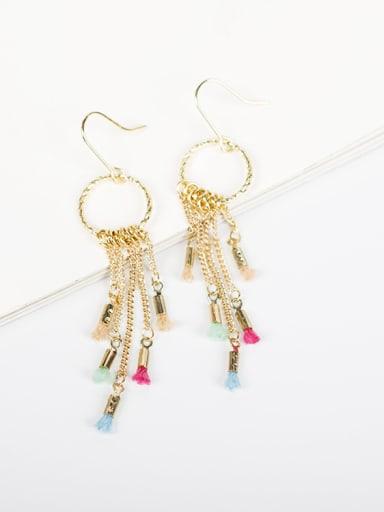 Charming Round Shaped Long Tassels Earrings