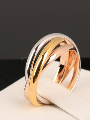 Three Color Plated Fashion Copper Ring