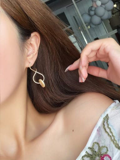 Alloy With Rose Gold Plated Simplistic Round Hook Earrings