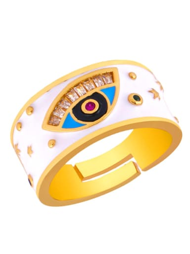 Copper With Color Enamel Fashion Evil Eye Free size Rings