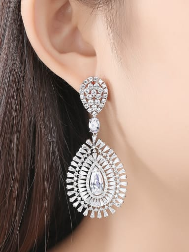 Copper With Platinum Plated Luxury Water Drop Chandelier Earrings