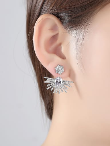 Copper With Platinum Plated Hip Hop Irregular Cluster Earrings
