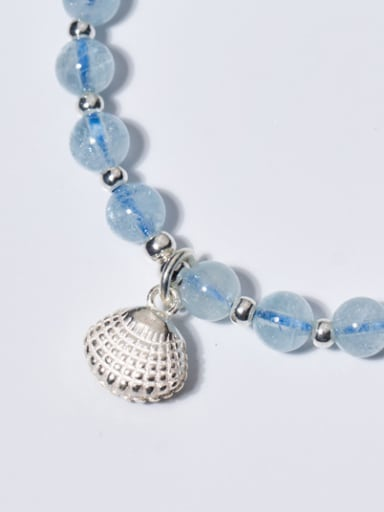 Fresh Shell Shaped Blue Crystal S925 Silver Bracelet