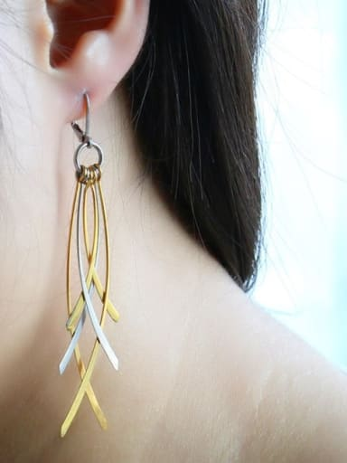 Elegant Double Color Design Leaf Shaped Drop Earrings