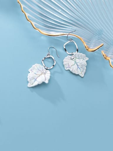 925 Sterling Silver With Platinum Plated Simplistic Leaf Hook Earrings