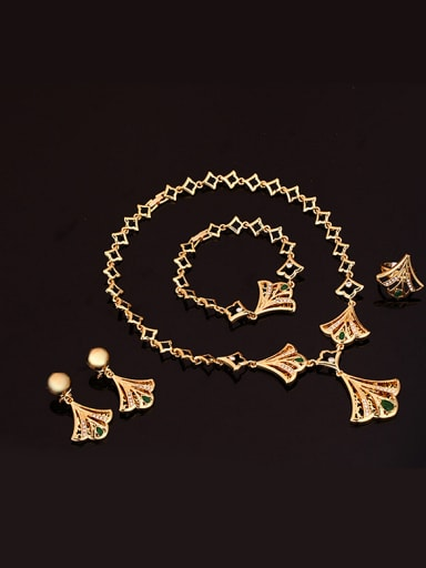Alloy Imitation-gold Plated Vintage style Rhinestones Fan-shaped Four Pieces Jewelry Set