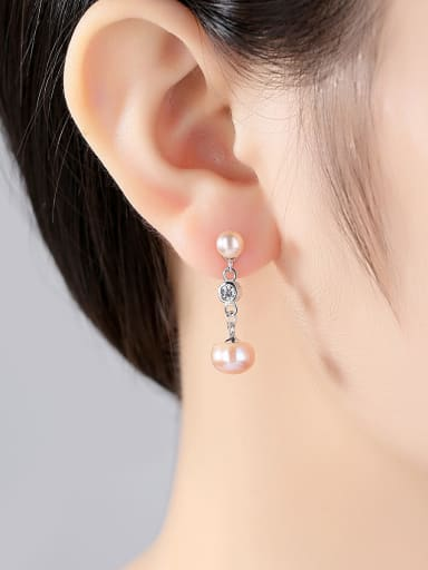 Sterling silver micro-inlay AAA zircon natural freshwater pearl earrings