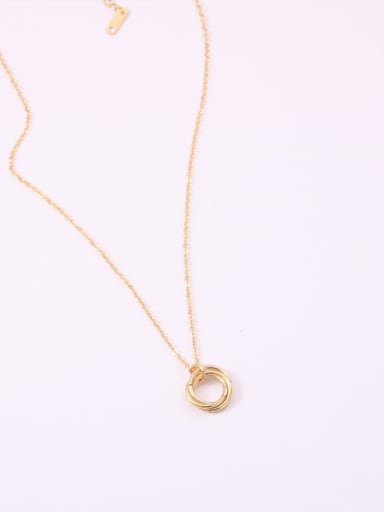Titanium With Gold Plated Simplistic Hollow Geometric Necklaces