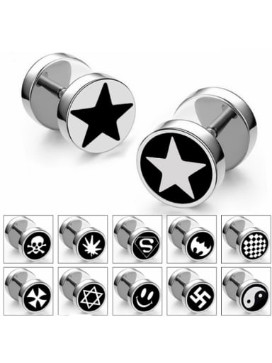Stainless Steel With Silver Plated Personality Geometric Stud Earrings