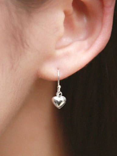 Simple Little Heart shaped Silver Smooth Earrings