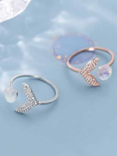 925 Sterling Silver With Platinum Plated Cute Fish Taill Free Size  Rings