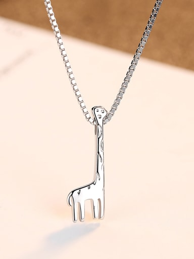 925 Sterling Silver With Platinum Plated Simplistic Long Deer  Necklaces