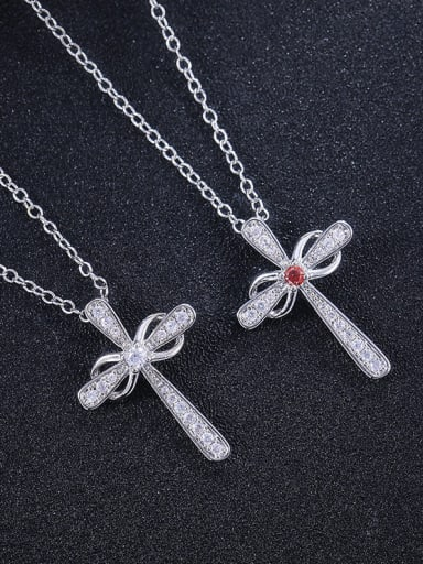 Copper With Platinum Plated Simplistic Cross Necklaces