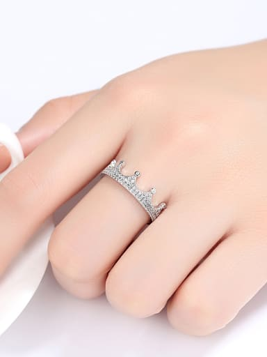 Sterling silver inlaid AAA zircon exquisite crown ring