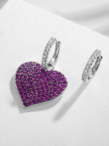 Copper inlaid AAA zircon classic love shape asymmetrical earrings