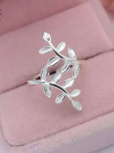 S925 Silver Fashion Olive Leaves Ear Clips And Ring