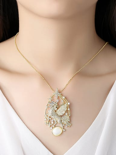 Copper With Gold Plated Luxury Animal  Horse Pendant Power Necklaces