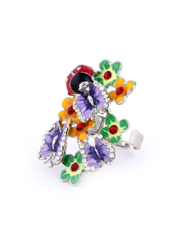 Exaggerated Butterfly Flower Ladybird Colorful Rhinestones Alloy Ring