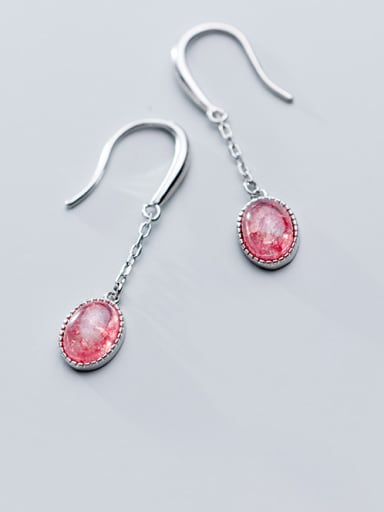 925 Sterling Silver With Platinum Plated Simplistic Oval Drop Earrings