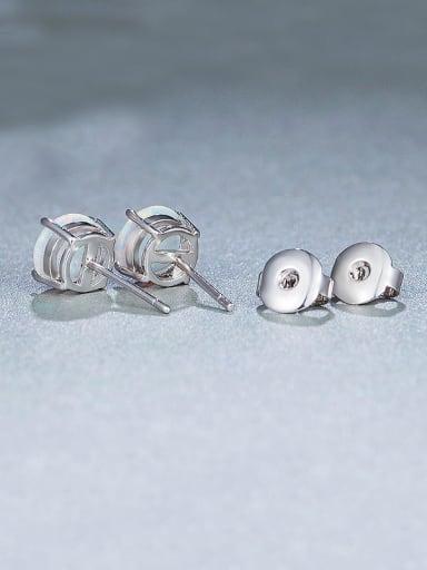 White Opal Stone stud Earring