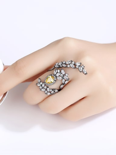 Copper With  Cubic Zirconia  Personality Irregular Statement  Free Size Rings