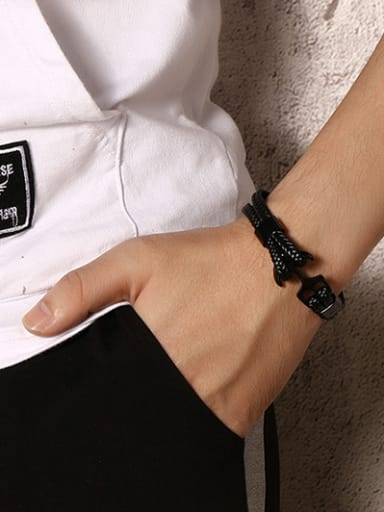 Delicate Anchor Shaped Artificial Leather Bracelet