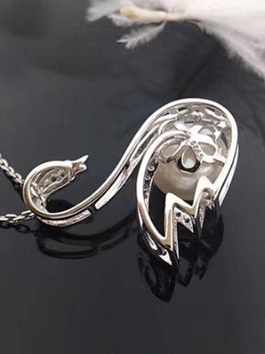 Freshwater Pearl Zircon Swan Pendant