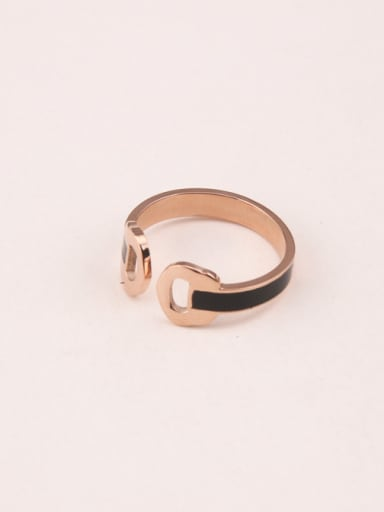 Double Hollow D Black Glue Opening Ring