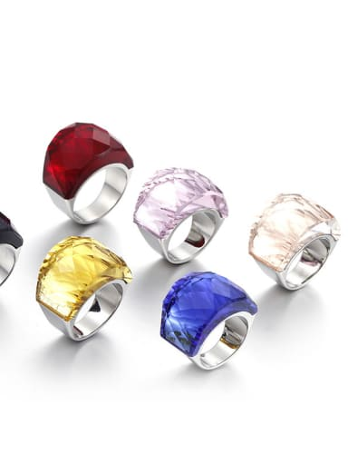 Stainless Steel With White Gold Plated Fashion Party Multistone Rings