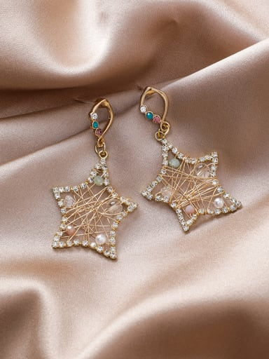 Alloy With Gold Plated Simplistic Star Drop Earrings