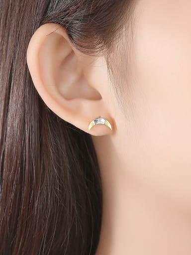 925 Sterling Silver With Two-color plating Simplistic Moon Stud Earrings