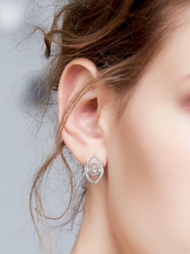 Personalized Cubic Rotational Zircon Eye shaped 925 Silver Stud Earrings