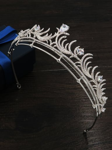 Luxury Micro Pave Zircons White Gold Plated Hair Accessories