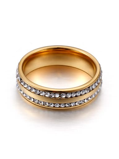 Stainless Steel With Rhinestone Trendy Round Band Rings
