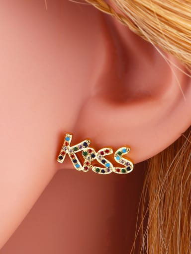 Copper With Cubic Zirconia Personality Monogrammed Stud Earrings