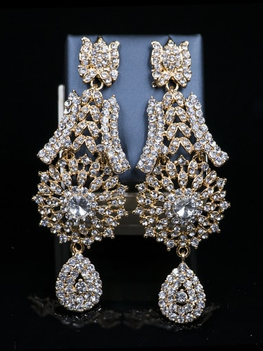2018 2018 2018 2018 Cubic Glass Rhinestones Two Pieces Jewelry Set