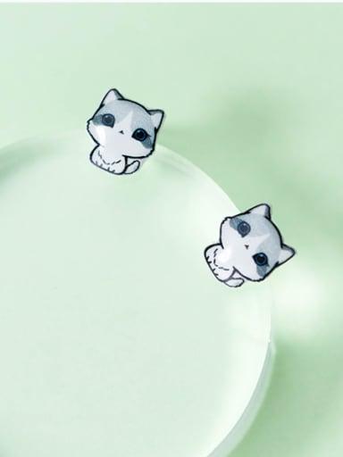 Fresh Cat Shaped S925 Silver Glue Stud Earrings