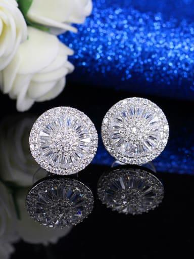 Round Zircon Earring Necklace Jewelry Set