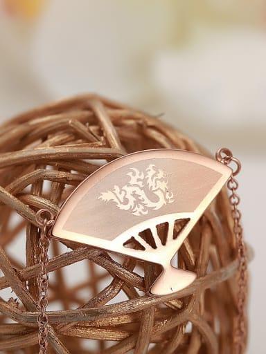 Titanium Steel Rose Gold National Wind Fan Necklace