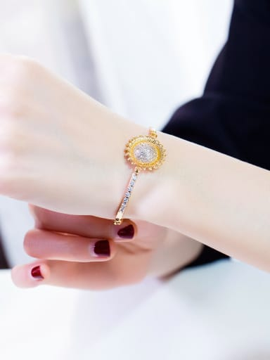 Copper With 18k Gold Plated Delicate helianthus Bracelets