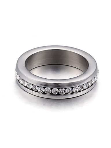Stainless Steel With Cubic Zirconia Trendy Round Band Rings