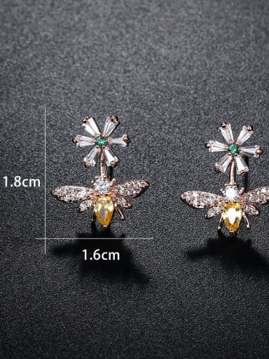 Copper With Cubic Zirconia Cute Insect Bee Stud Earrings